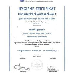 Zertifikat Hygiene
